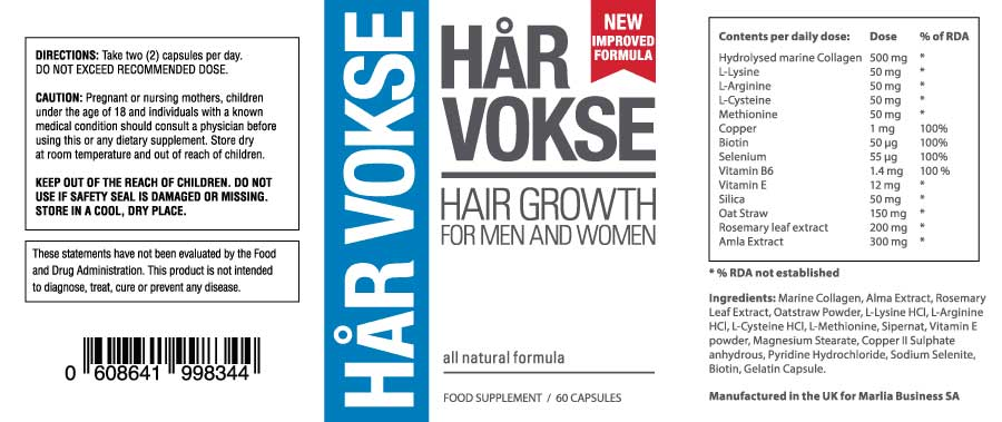 Har Vokse Supplement Ingredients - Label