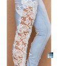 Fashion Wash Lace Paneled Jeans by OASAP 2