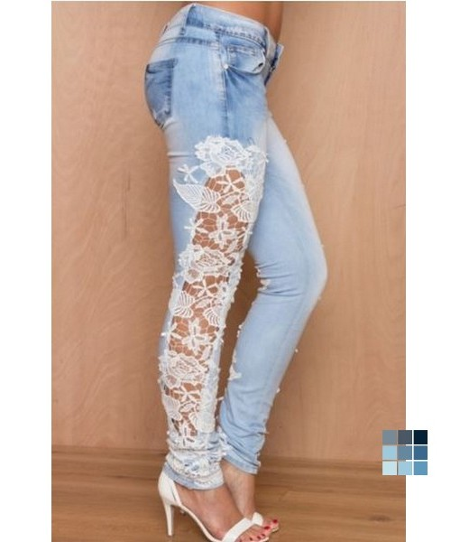 Fashion Wash Lace Paneled Jeans by OASAP