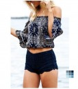 Off the Shoulder Print Flounce Sleeve Crop Top by OASAP 3
