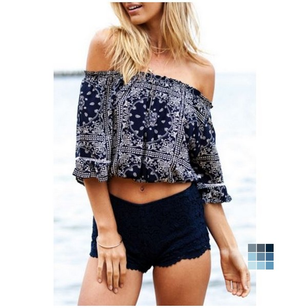 Off the Shoulder Print Flounce Sleeve Crop Top by OASAP