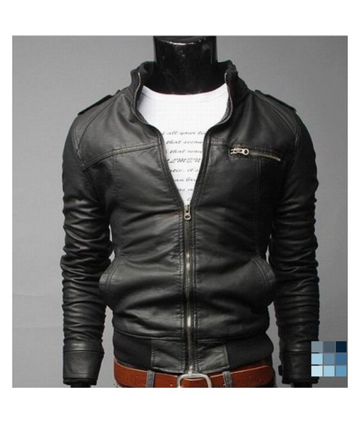 Black Synthetic Leather Jacket by Gobuu