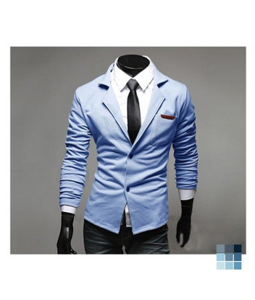 Sky Blue Cotton Blends Coat
