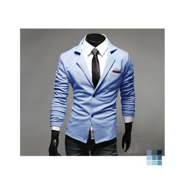 Sky Blue Cotton Blends Coat